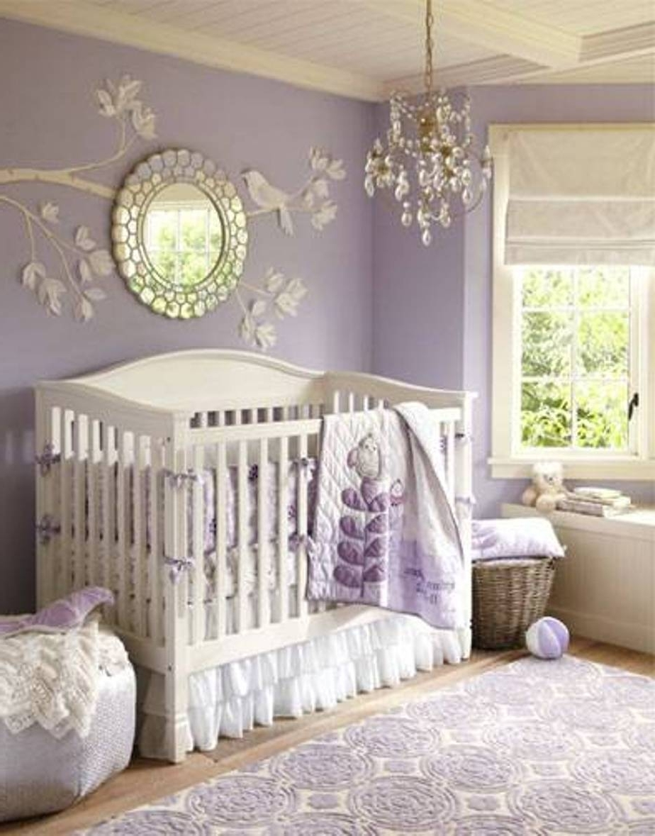 Chandeliers For Girl Nursery Inside Fashionable Comely Design Ideas Using Round Silver Wall Mirrors And Rectangular (View 1 of 15)