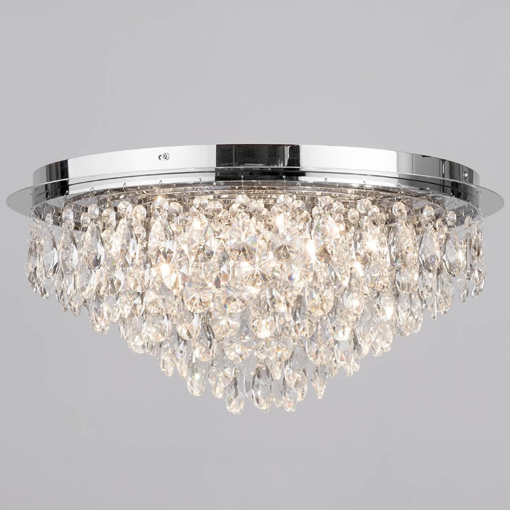 Chandeliers For Low Ceilings With Regard To Best And Newest Flush Ceiling Light – Crystal 6 Light Chrome (View 2 of 15)