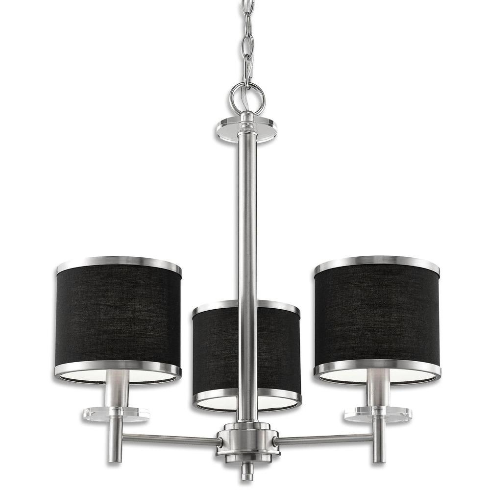 Chandeliers With Black Shades Inside Best And Newest Beldi Medford Collection 3 Light Satin Nickel Chandelier With Black (View 2 of 15)