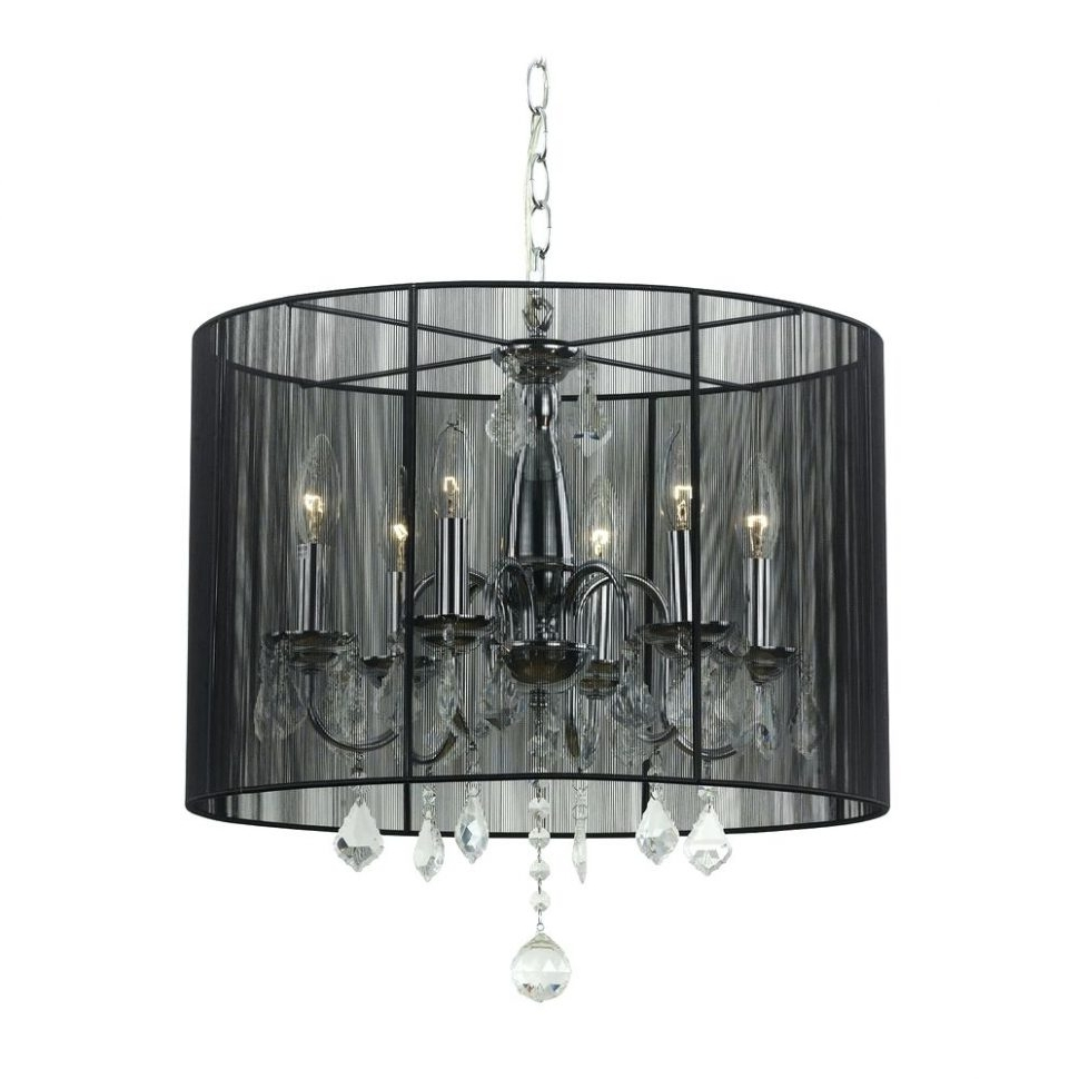 Chandeliers With Black Shades With Famous Chandeliers Design : Marvelous Crystal Chandelier Pendant Light With (View 6 of 15)