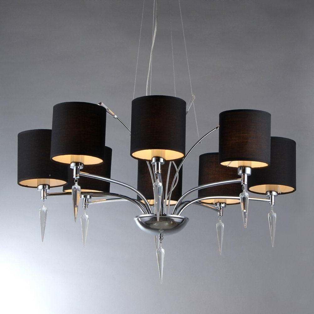 Chandeliers With Black Shades Within Well Known Warehouse Of Tiffany Branch 8 Light Chrome Chandelier With Black (View 7 of 15)