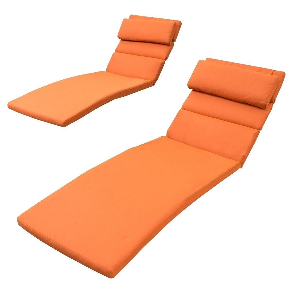 Cheap Chaise Lounge Cushions Within Favorite Rst Brands Tikka Orange Outdoor Chaise Lounge Cushions (Set Of  (View 11 of 15)