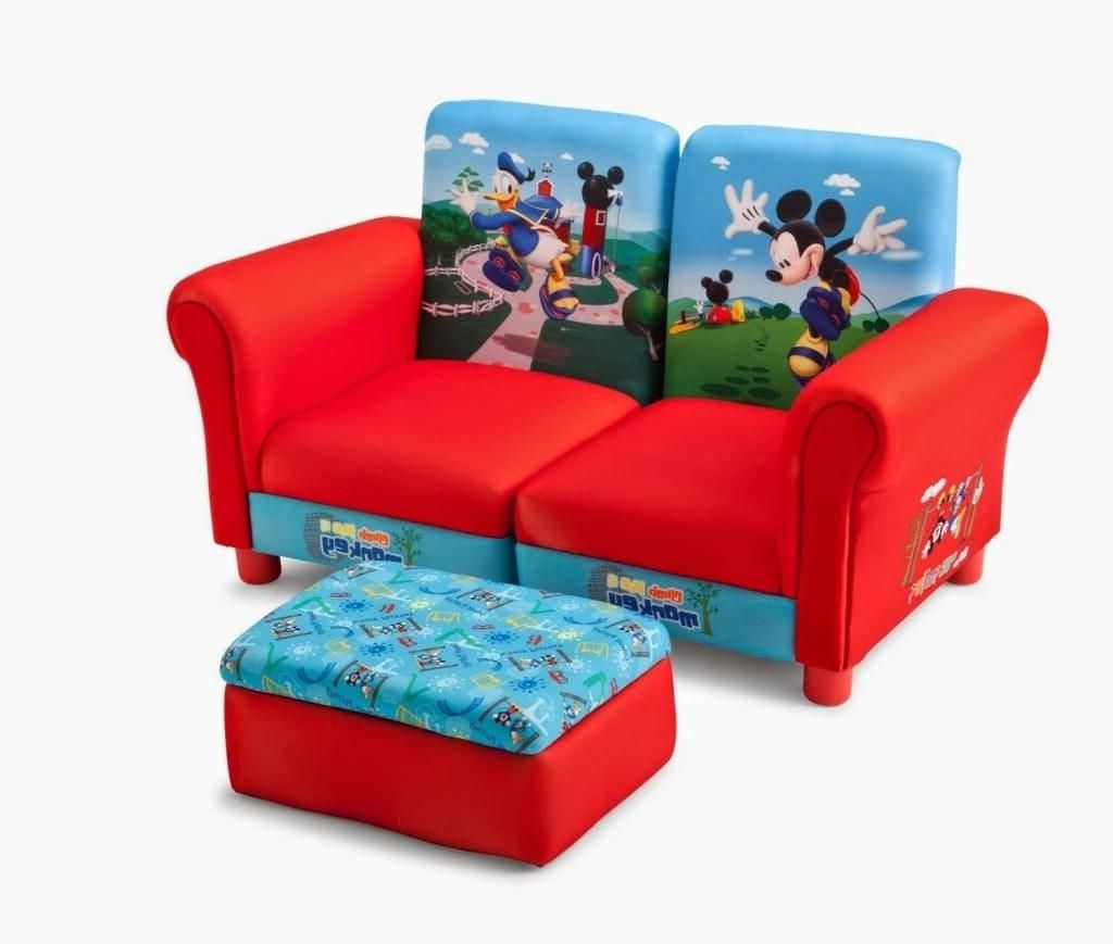 Cheap Kids Sofas With Regard To Most Current Furniture: Fine Red And Blue Kids Sofa With Storage Ottoman (View 3 of 15)