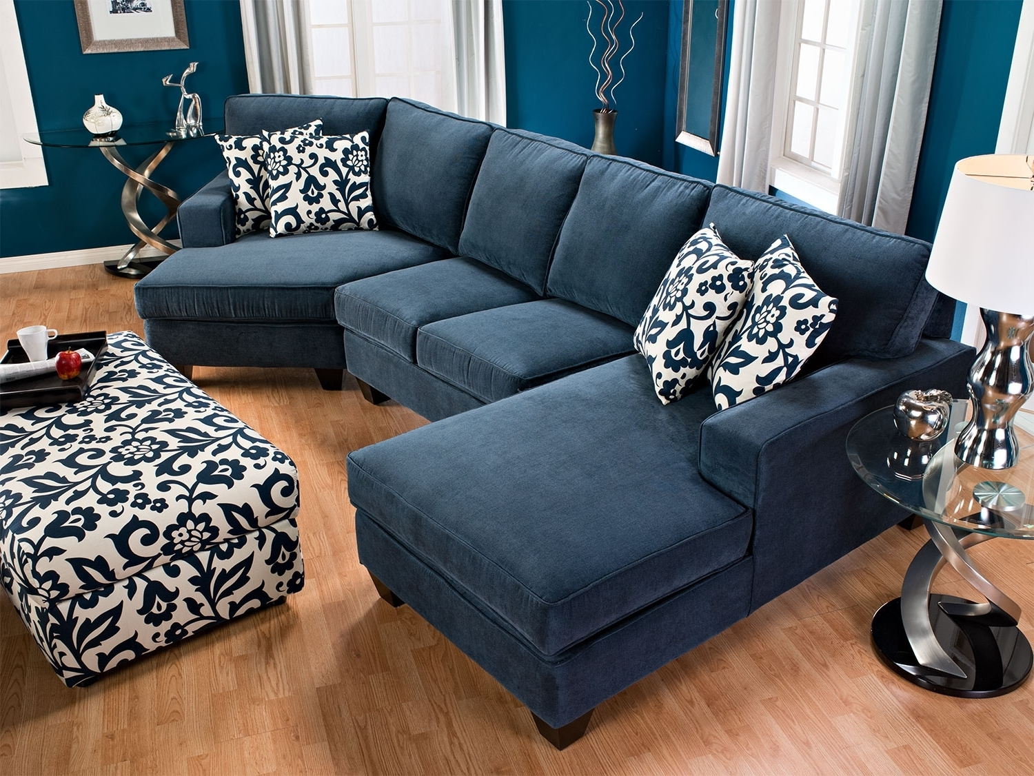 Chenille Sectional Sofa With Chaise – Hotelsbacau Regarding Most Up To Date Blue Sectional Sofas With Chaise (View 9 of 15)