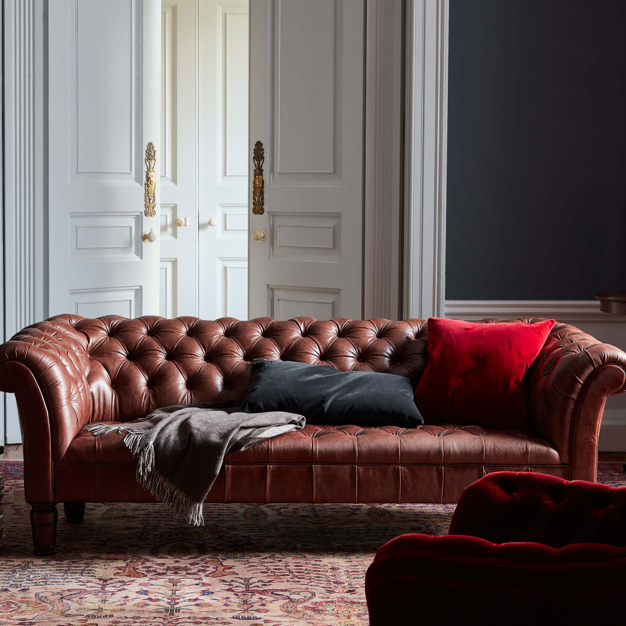 Chesterfield Sofa, Chestnut Leather (View 3 of 15)