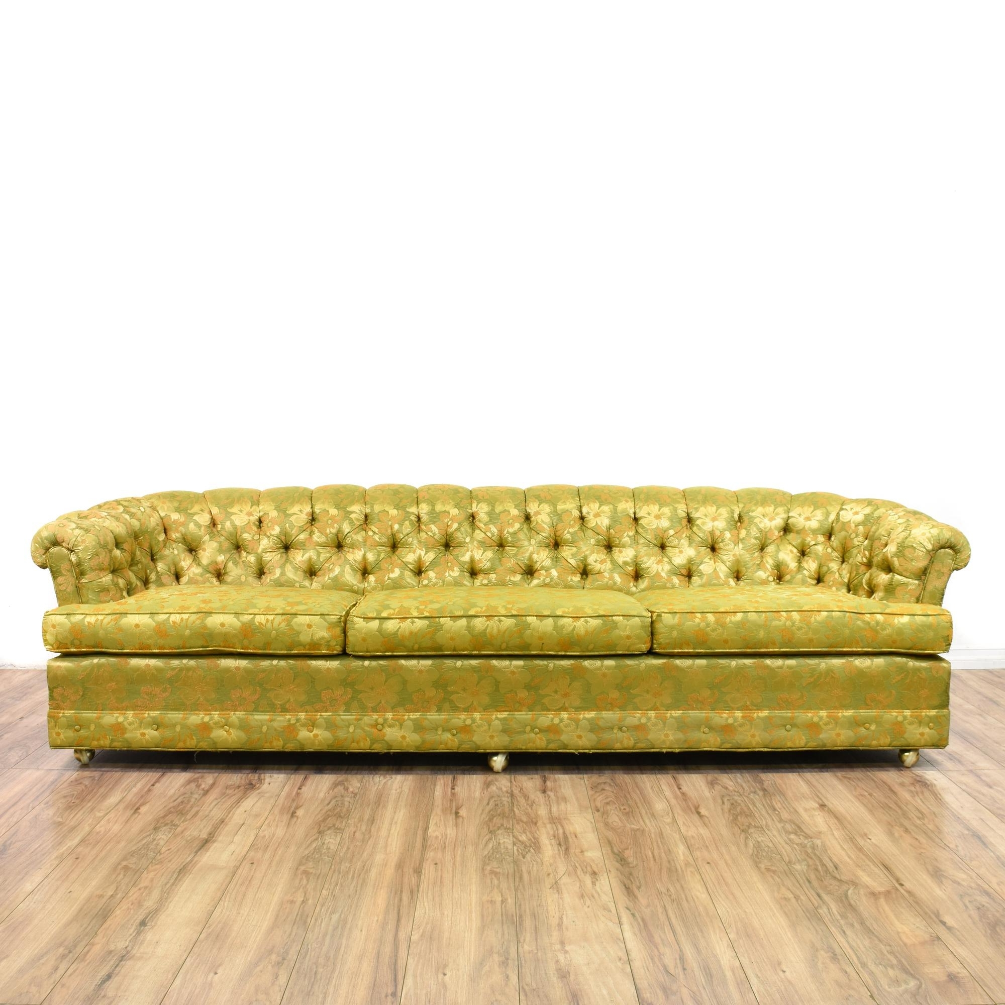 Chintz Floral Sofas With Well Liked This Long Chesterfield Sofa Is Upholstered In A Durable Silk Like (View 10 of 15)