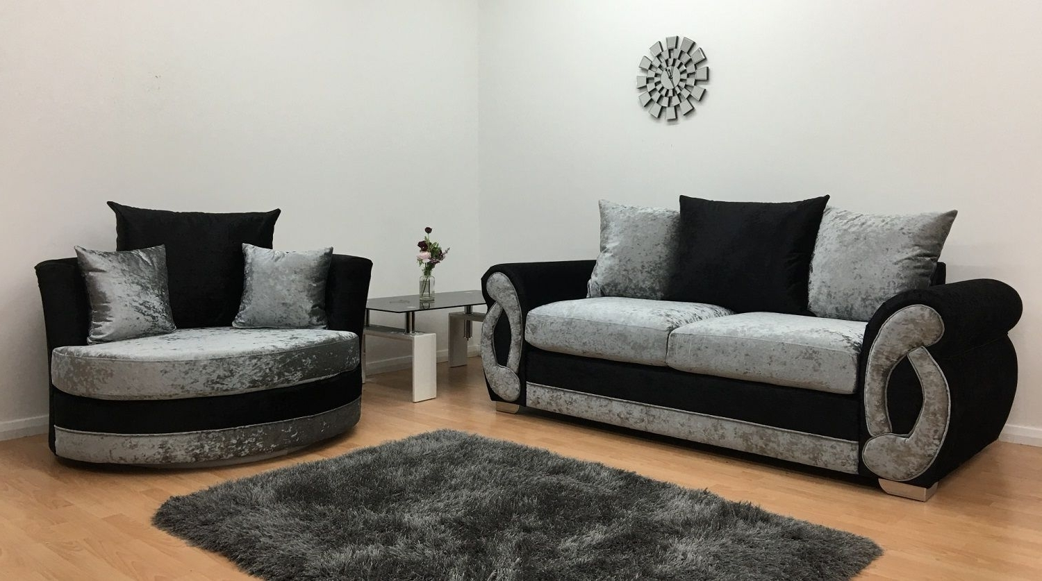 Chloe 3 Seater And Cuddle Chair – Black & Silver (View 6 of 15)