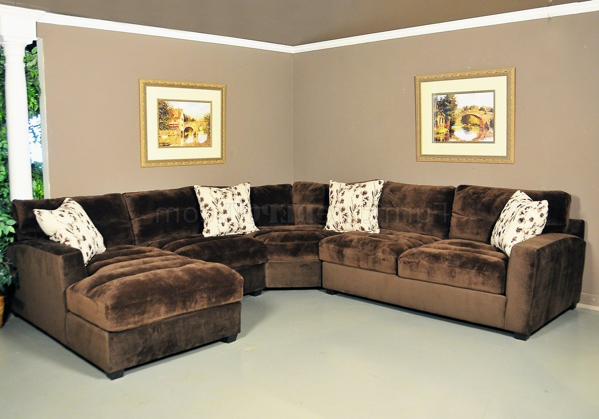 Chocolate Sectional Sofas Intended For Well Known Nobel Chocolate Fabric Modern 4Pc Sectional Sofa (View 3 of 15)