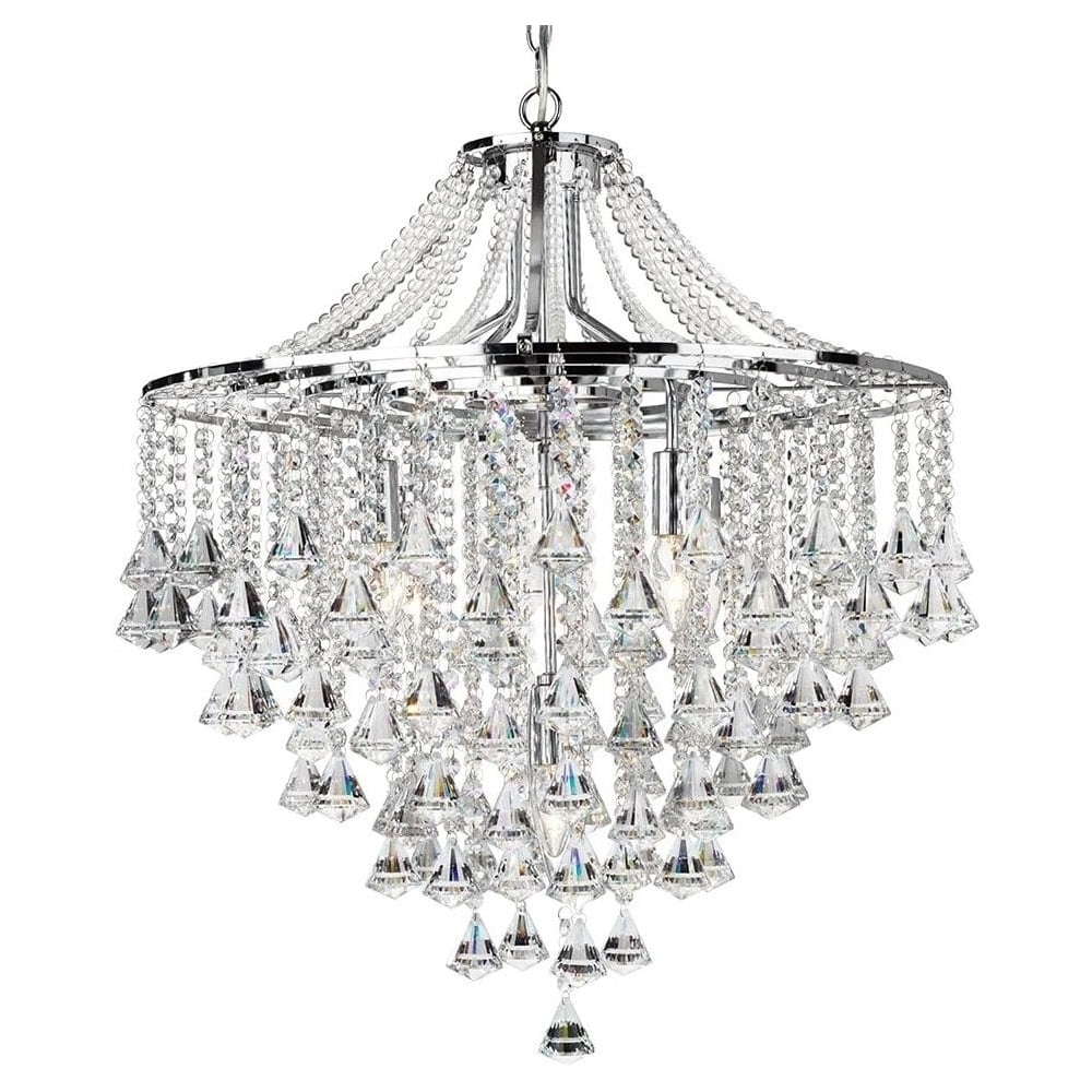 Chrome And Crystal Chandelier Throughout Latest Searchlight 3495 5Cc Dorchester 5 Light Crystal Chandelier (View 6 of 15)