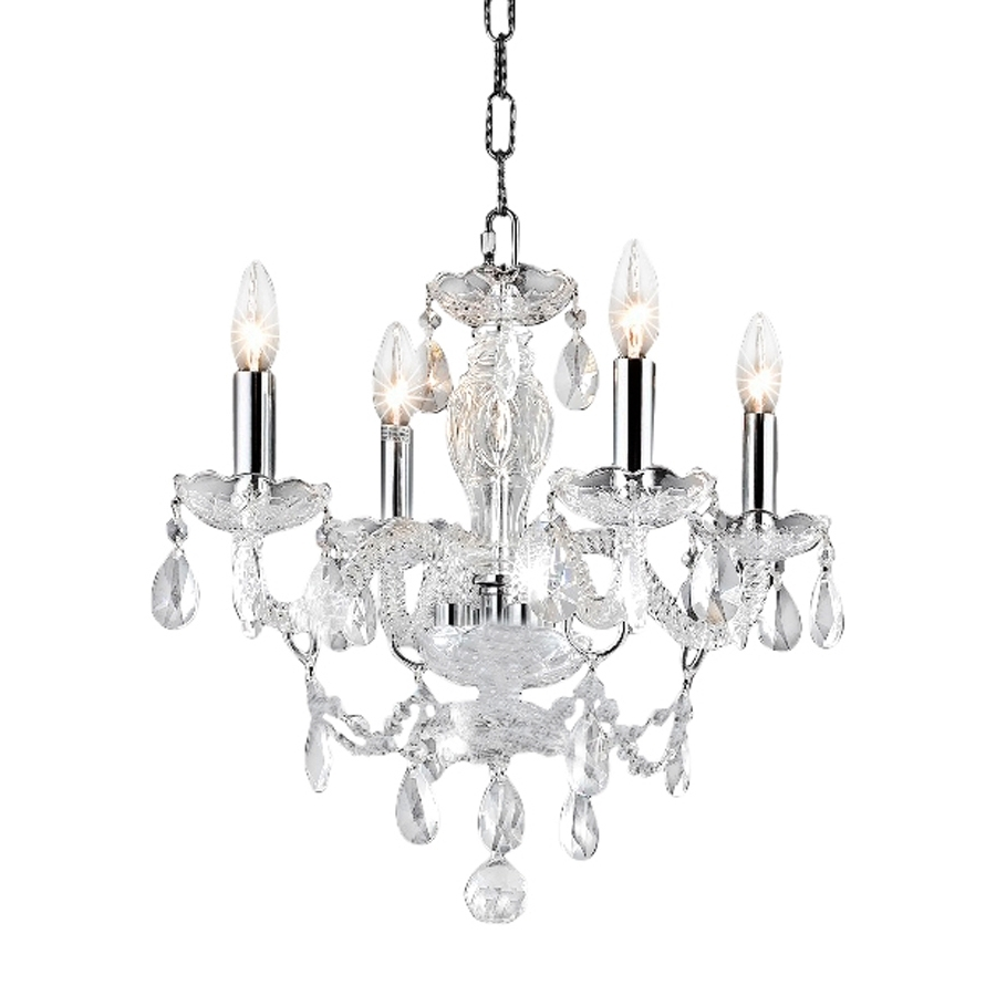 Chrome And Crystal Chandelier With Regard To Favorite Shop Elegant Lighting Princeton 17 In 4 Light Chrome Crystal Crystal (View 5 of 15)