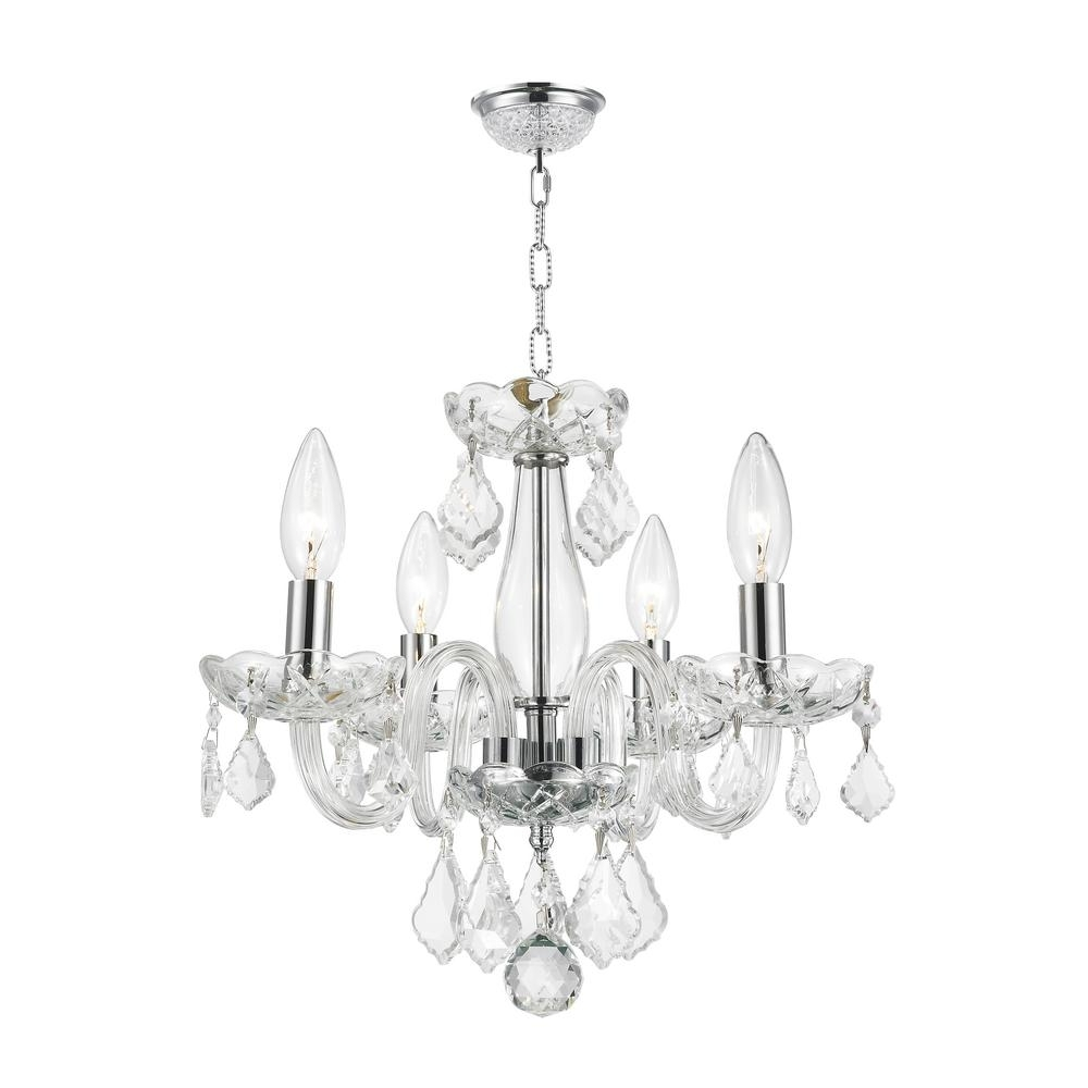 Chrome And Glass Chandeliers Throughout Popular Worldwide Lighting Clarion Collection 4 Light Polished Chrome (View 8 of 15)
