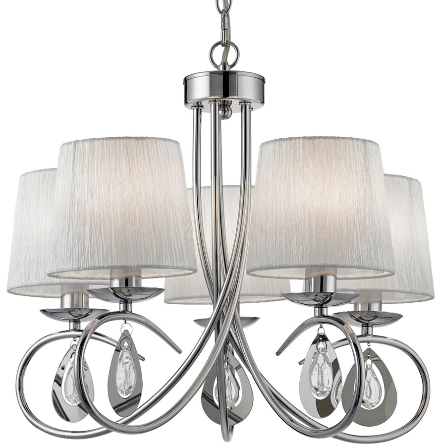 Chrome Chandelier Pertaining To 2018 Angelique Decorative 5 Light Chrome Chandelier With Shades 1025 5Cc (View 11 of 15)