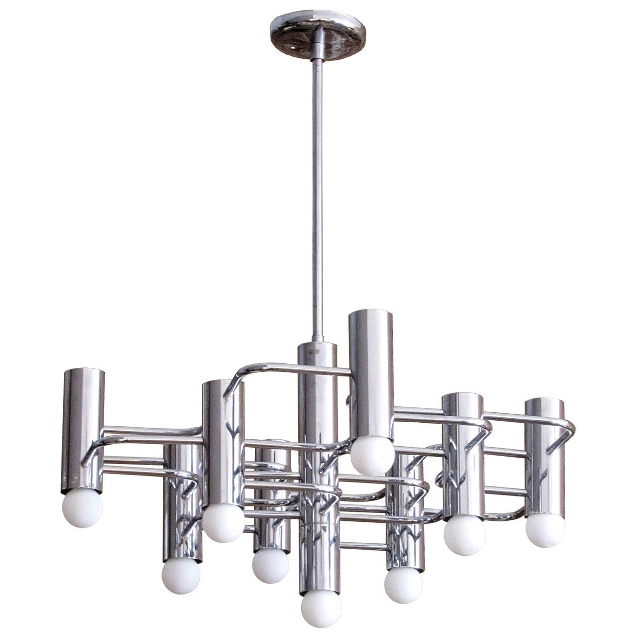 Chrome Chandeliers Pertaining To Newest Boulanger Chrome Chandelier, 1960 For Sale At 1Stdibs (View 6 of 15)