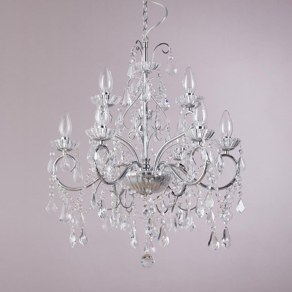 Chrome Crystal Chandelier Regarding 2018 Vara 9 Light Bathroom Chandelier – Chrome (View 7 of 15)
