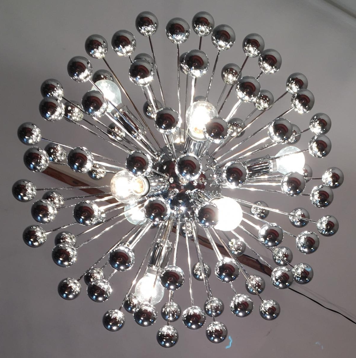 Chrome Sputnik Chandeliers Within Most Current Mid Century Italian Chrome Multi Sphere Sputnik Chandelier, 1960S (View 7 of 15)