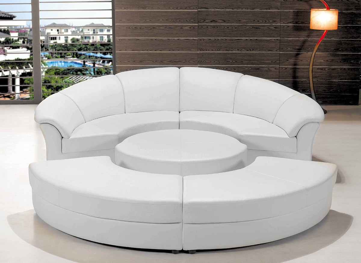Circular Sectional Sofas In Newest Modern White Leather Circular Sectional Sofa (View 5 of 15)