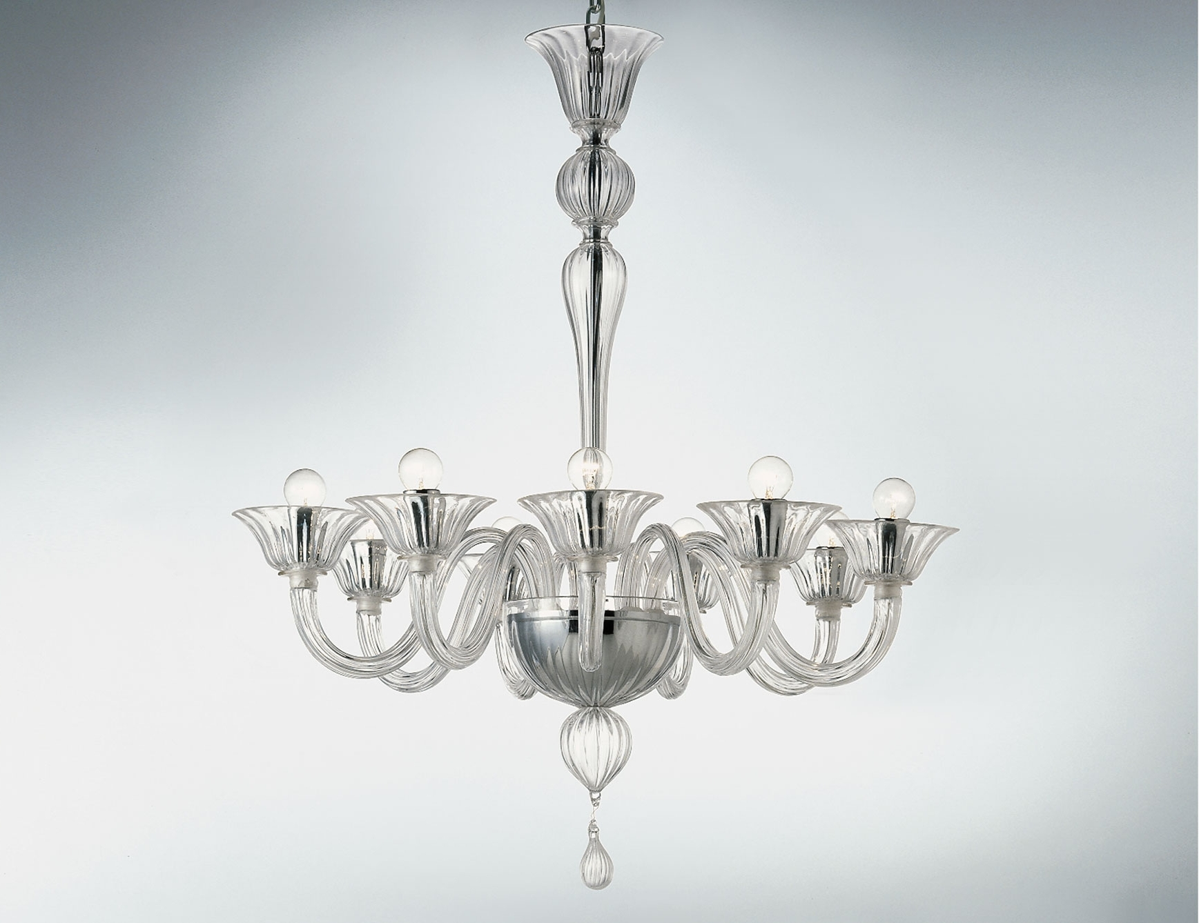 Clear Glass Chandeliers for Recent Nella Vetrina Cadona 8007-09 Venetian Chandelier In Clear Glass