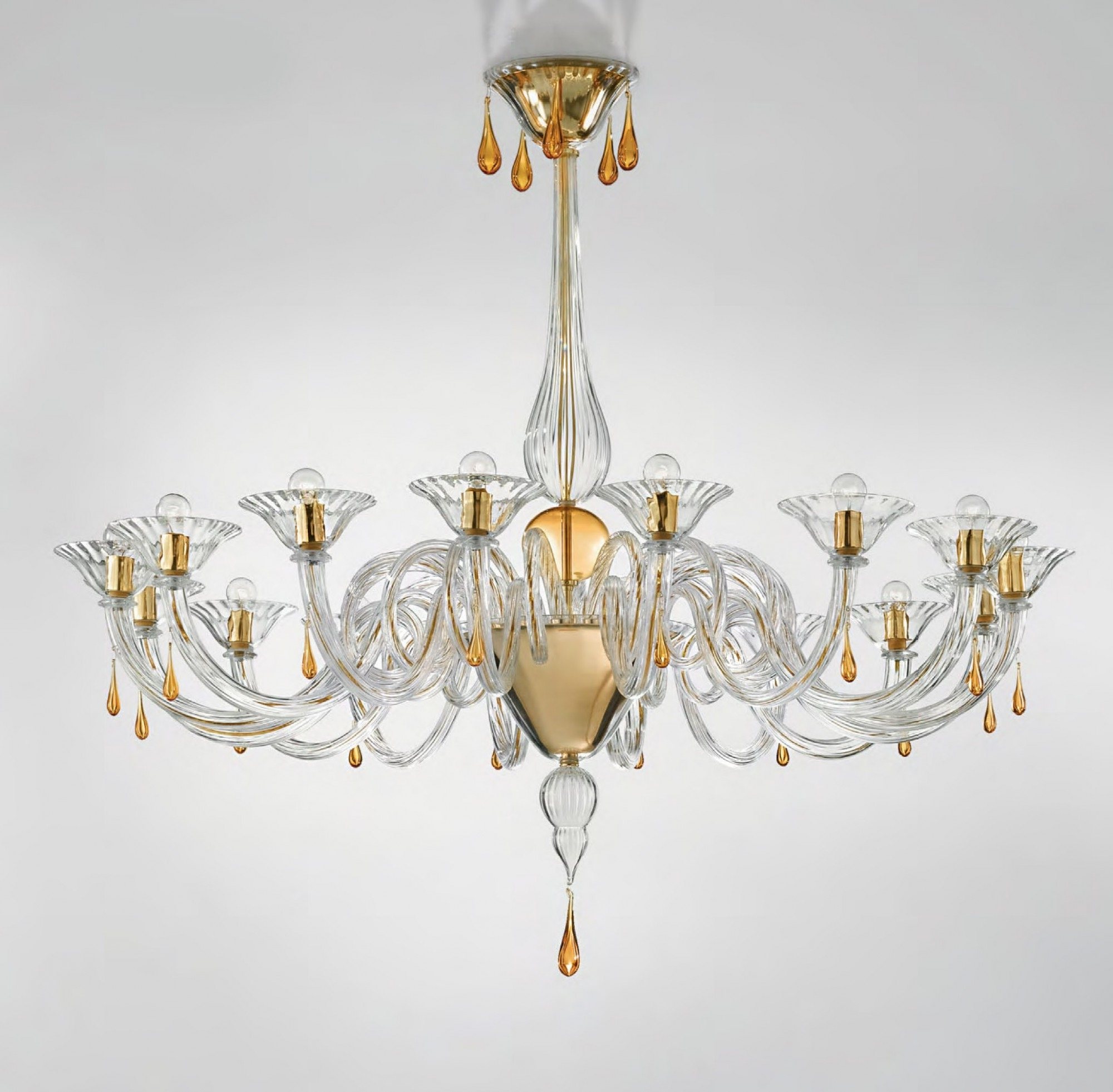 Clear Glass Chandeliers Inside Recent Modern Murano Chandelier Lighting Clear Glass And Gold Metal Finish (View 4 of 15)