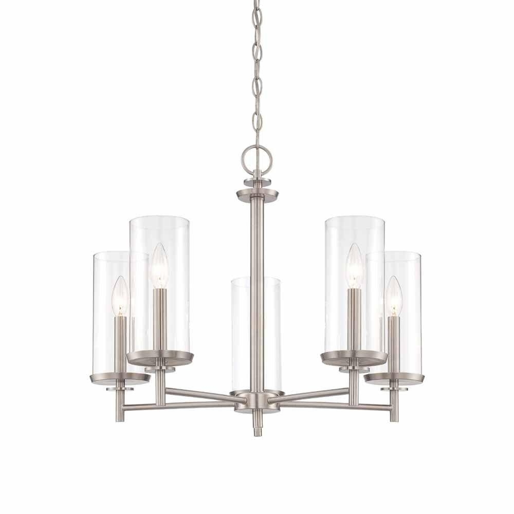 Clear Glass Chandeliers Intended For Most Recently Released Hampton Bay 5 Light Brushed Nickel Chandelier With Clear Glass (View 12 of 15)