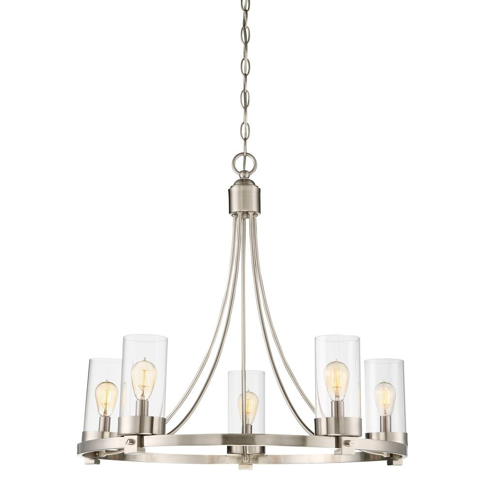 Clear Glass Chandeliers Regarding Trendy Filament Design 5 Light Brushed Nickel Chandelier With Clear Glass (View 6 of 15)