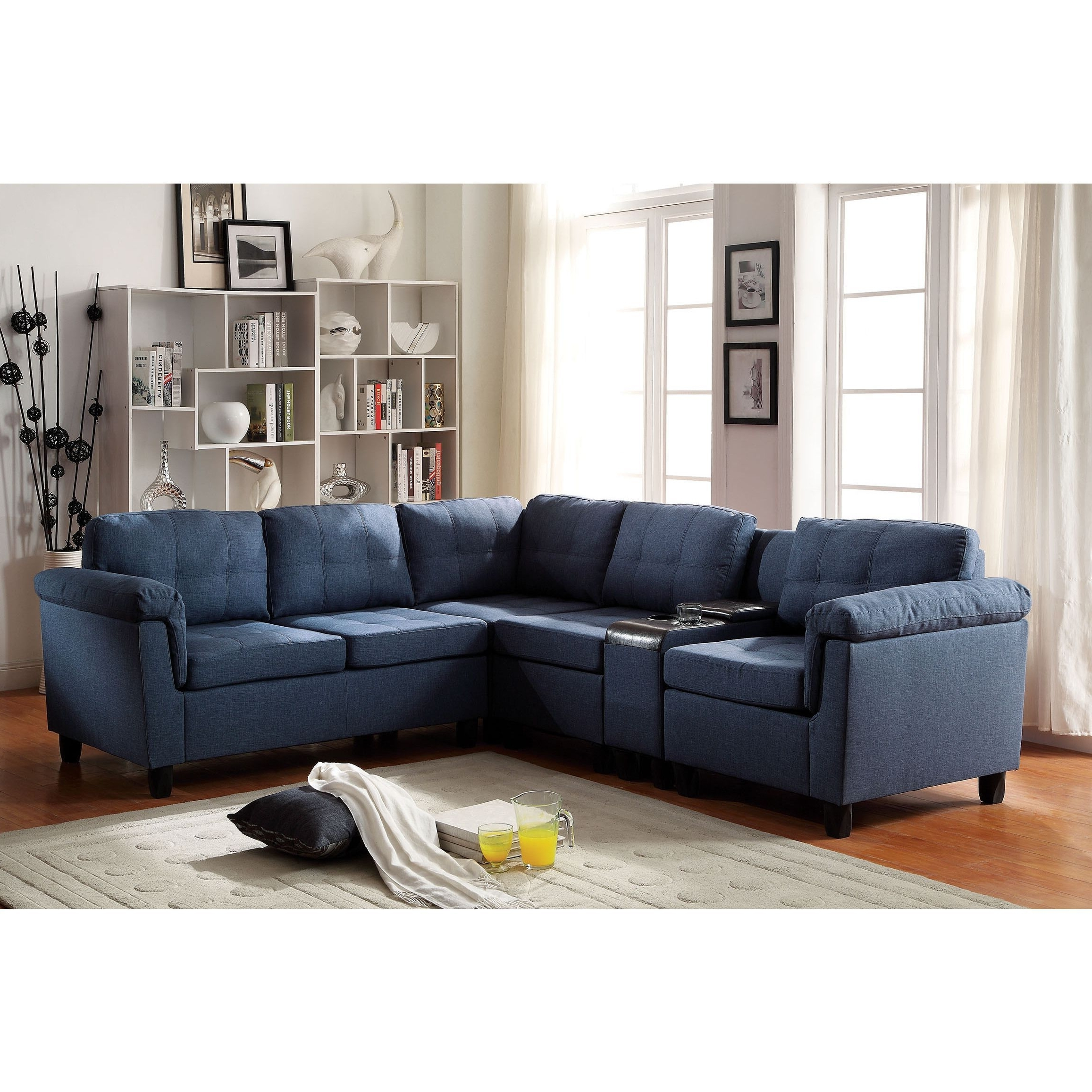 Cleavon Sectional Sofa With Console, Linen (Blue) (Foam Throughout Well Known Eau Claire Wi Sectional Sofas (View 4 of 15)