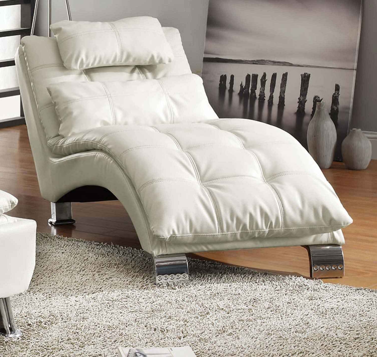 Coaster Dilleston Chaise – White 550078 At Homelement Inside Newest Coaster Chaise Lounges (View 6 of 15)