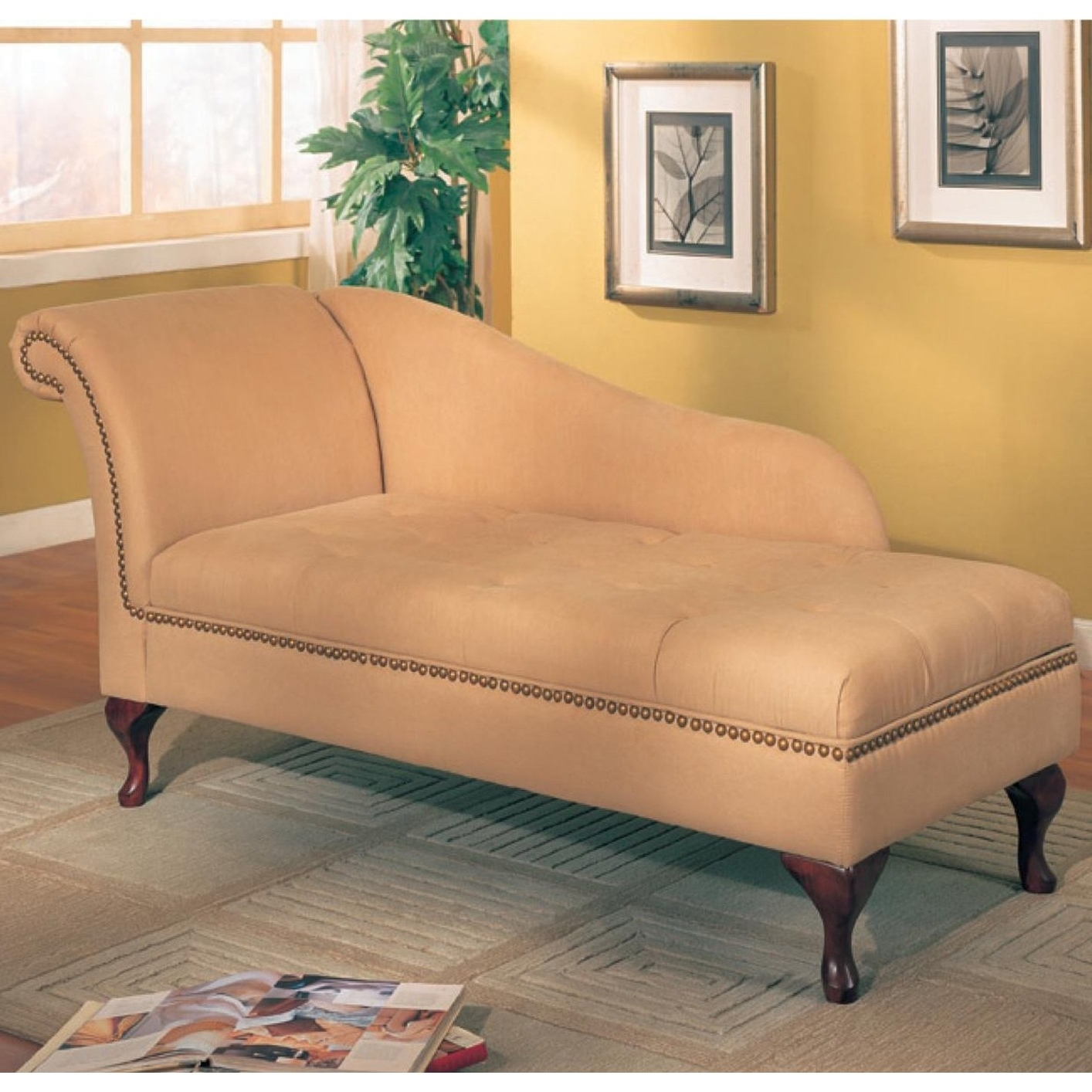 Coaster Furniture 550058 Microfiber Chaise Lounge With Flip Open Throughout Well Liked Microfiber Chaises (View 10 of 15)