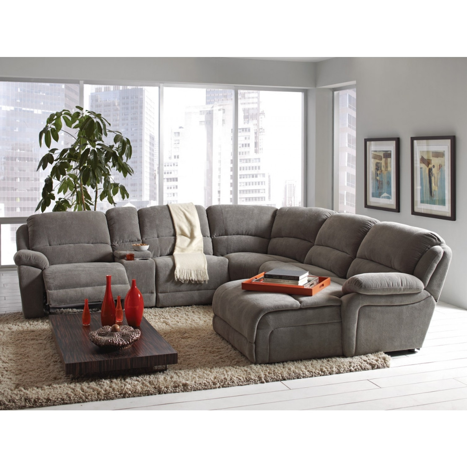 Coaster Mackenzie Silver 6 Piece Reclining Sectional Sofa With Regarding Recent Sectional Sofas With Cup Holders (View 12 of 15)