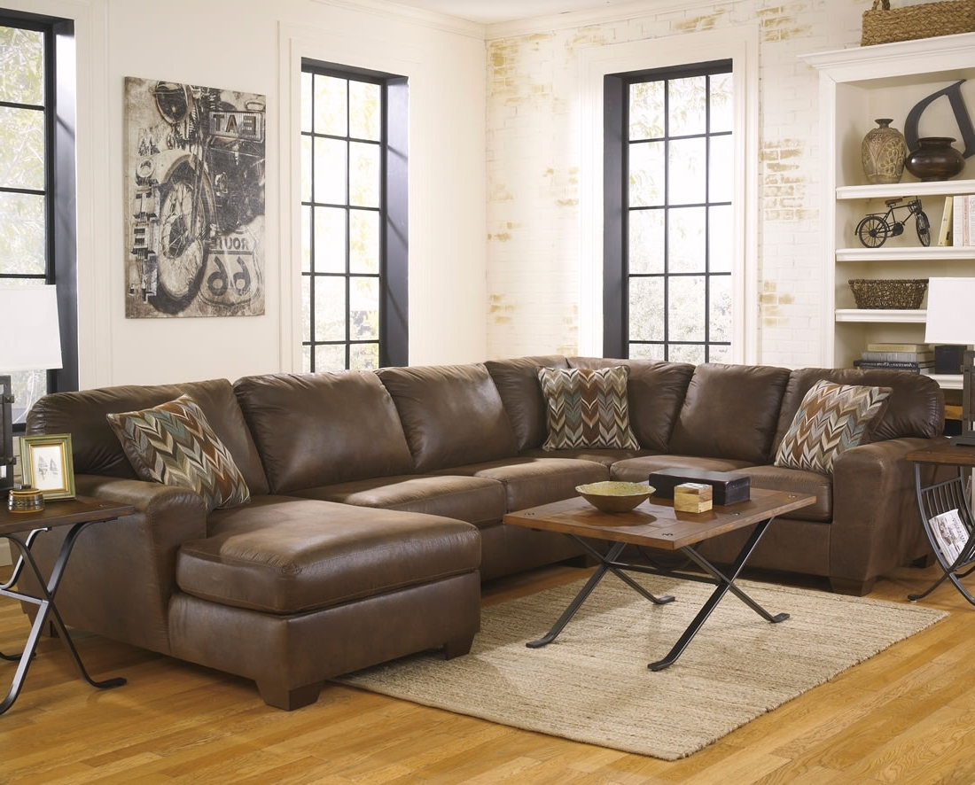 Coffee Tables For Sectional Sofa With Chaise Within Most Current Large Dark Chocolate Leather Sectional Sofa With Chaise And Track (View 4 of 15)