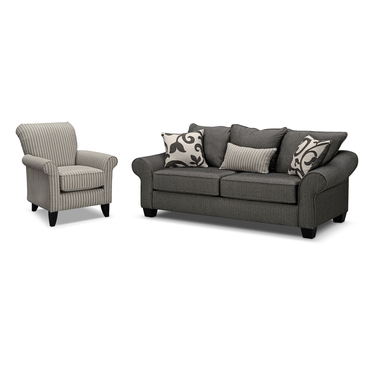 Colette Sofa And Accent Chair Set – Gray (View 7 of 15)