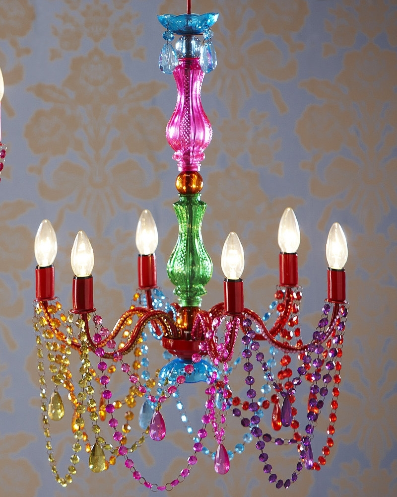 Coloured Chandeliers For 2018 Looks To Be Glass Vases + Christmas Lights + Plastic Beads (View 13 of 15)