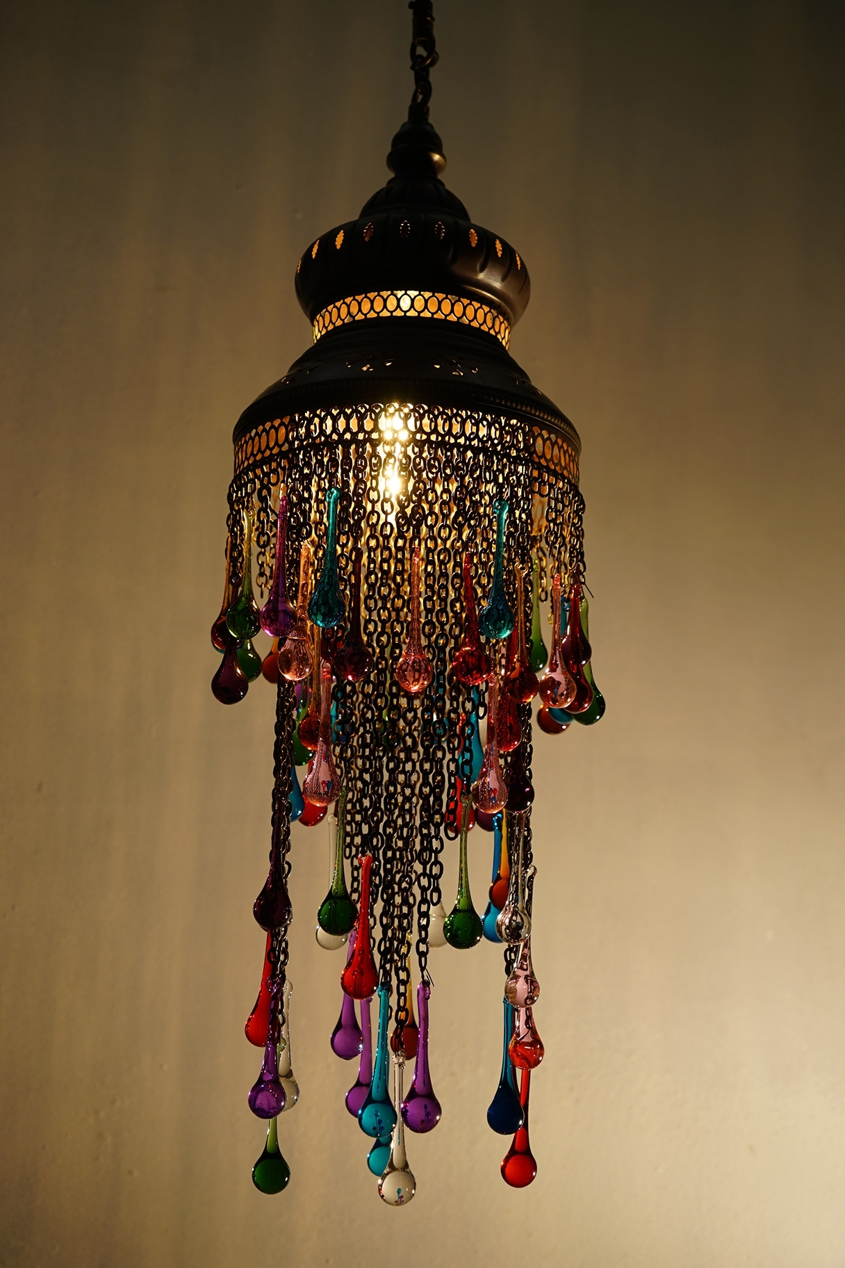 Coloured Glass Chandelier For Most Up To Date Coloured Glass Tear Drop Chandelier (View 4 of 15)