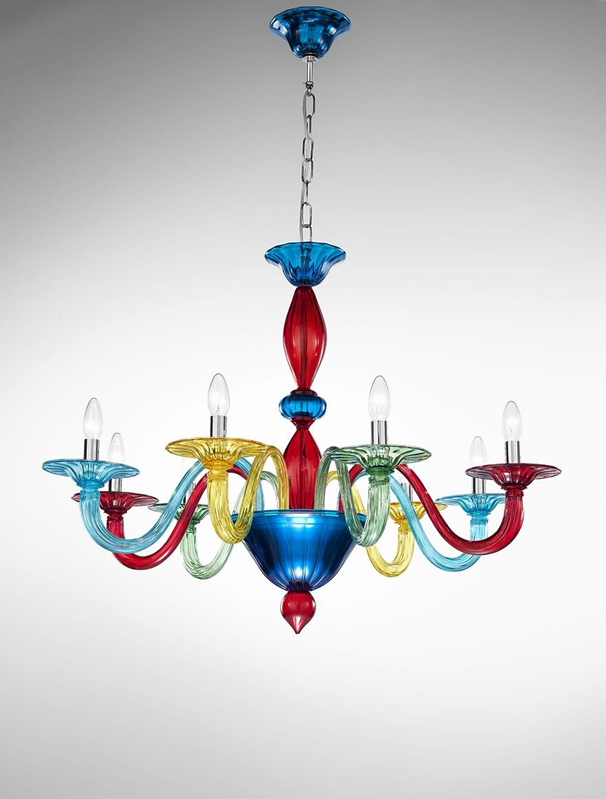 Coloured Glass Chandelier In 2017 Murano Coloured Glass Chandelier – Art (View 7 of 15)