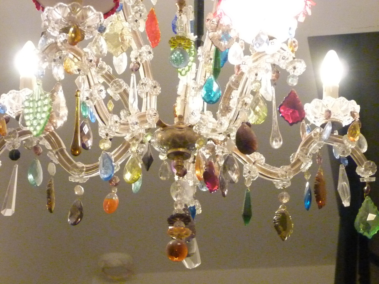 Coloured Glass Chandelier Intended For Preferred 5 Arm Glass Marie Therese With Multi Coloured Drops – The Vintage (View 2 of 15)