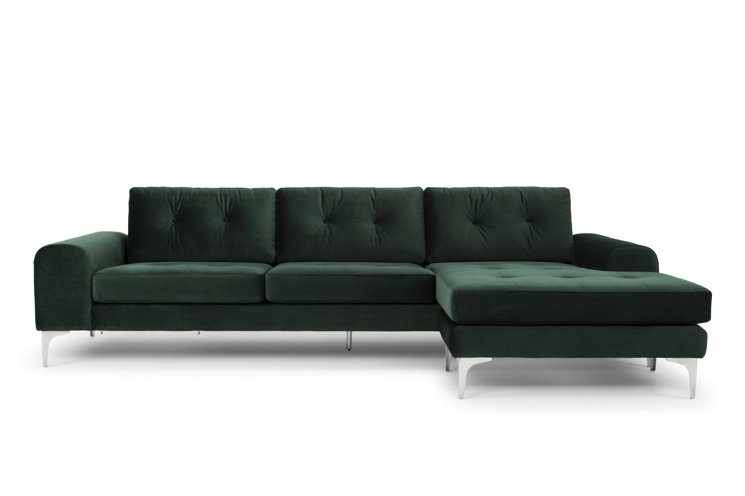 Colyn Sectional Sofa In Emerald Green And Brushed Stainless With Regard To Popular Visalia Ca Sectional Sofas (View 1 of 15)