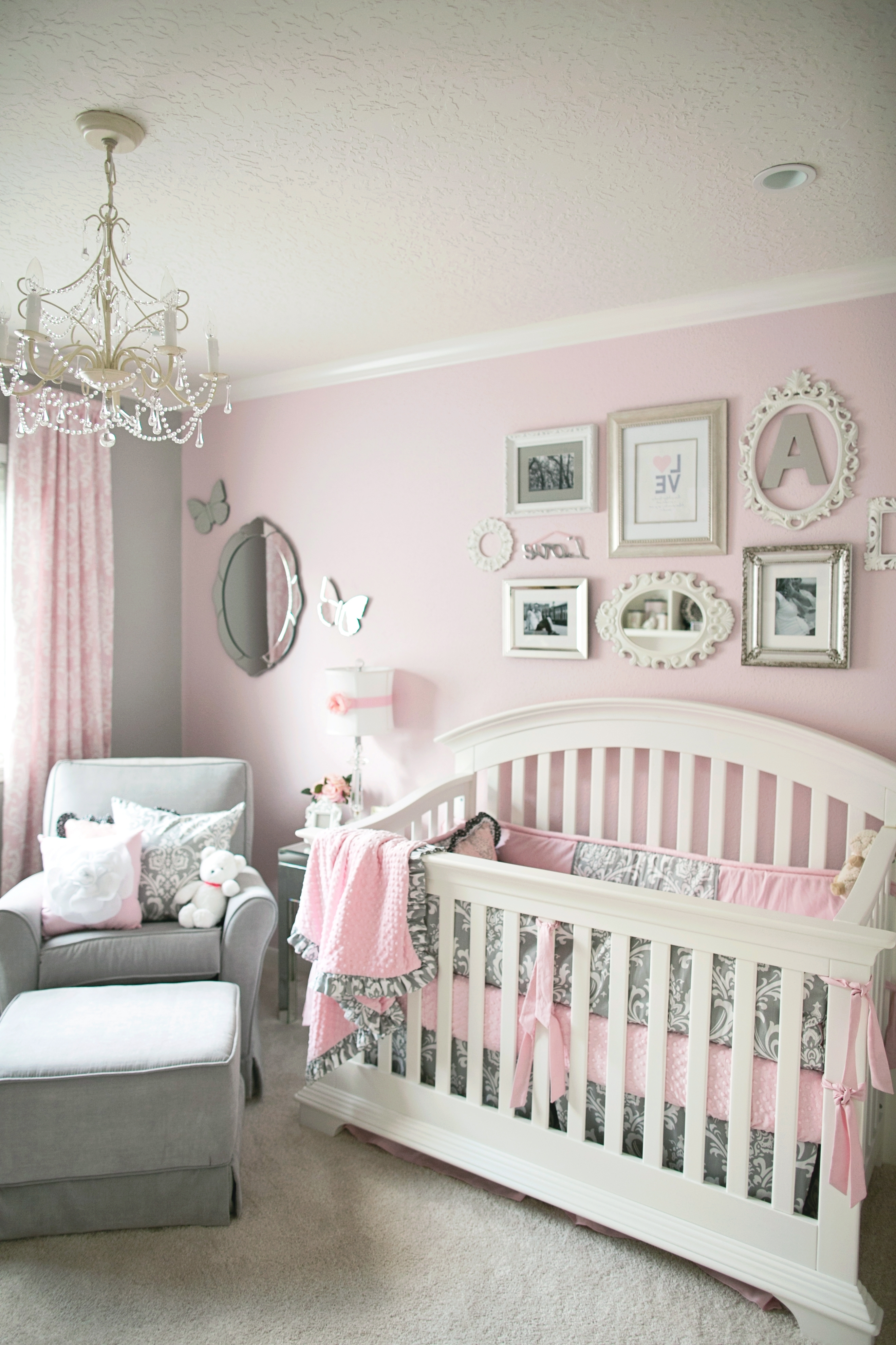 Contemporary Baby Girl Room Decor Chevron Pattern Curtain Ideas Full For 2018 Crystal Chandeliers For Baby Girl Room (View 4 of 15)