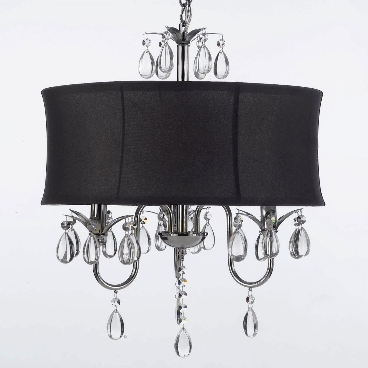 Contemporary Black Chandelier Throughout 2017 Black Crystal Chandelier Lighting #3 Modern Contemporary Black Drum (View 12 of 15)