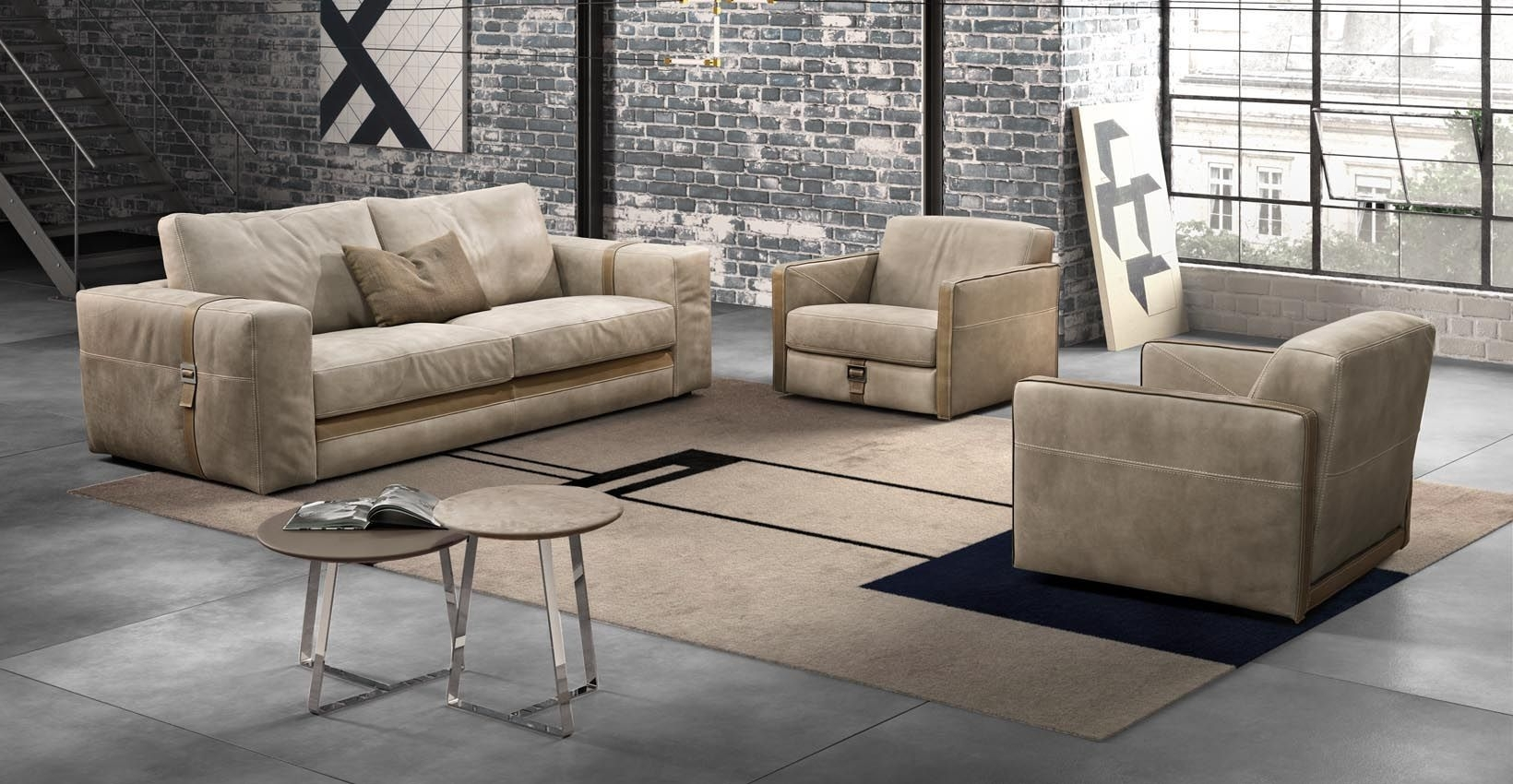 Contemporary Sofa / Leather / 2 Seater / Beige – Richmond – Gamma In Most Recent Richmond Sofas (View 11 of 15)