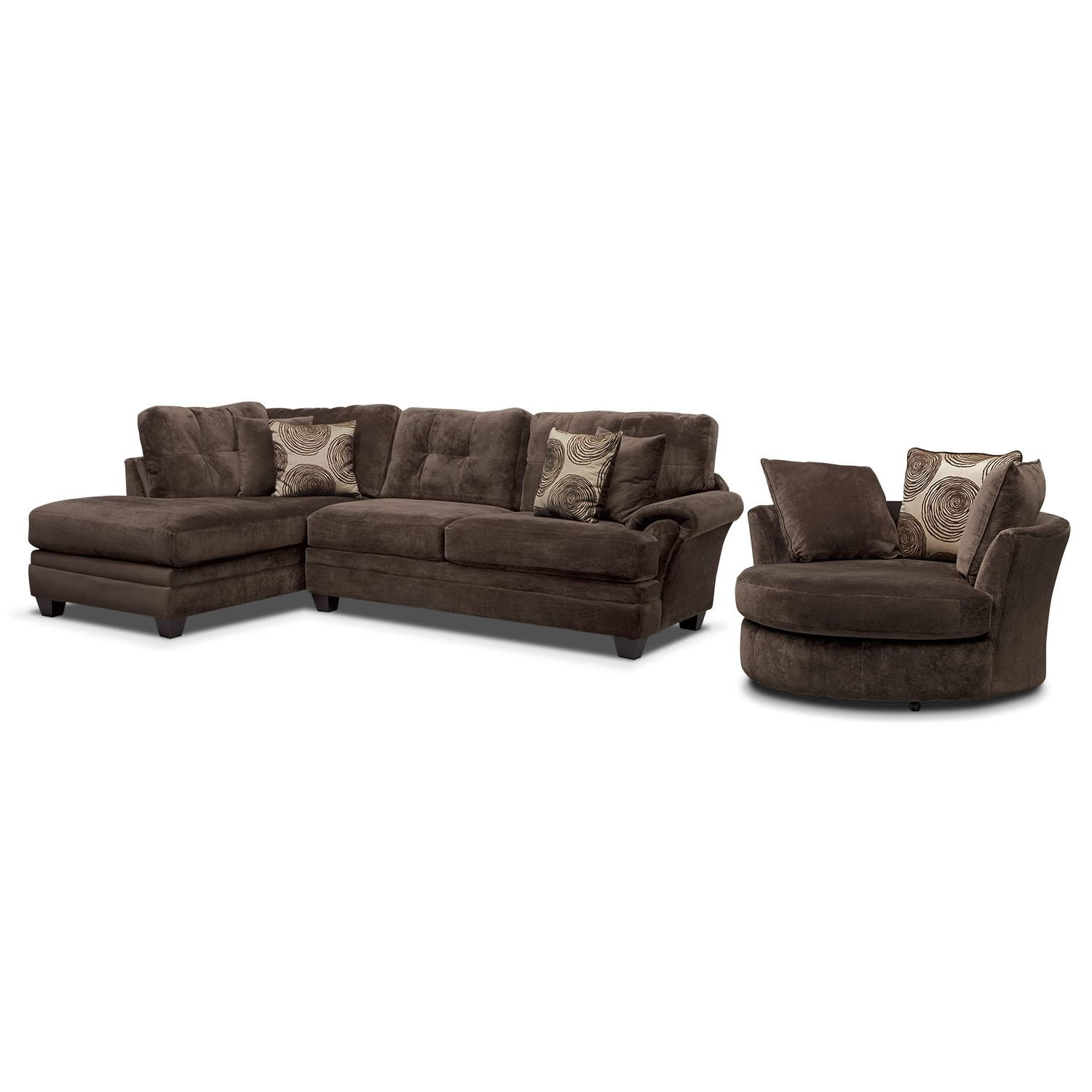 Cordelle 2 Piece Right Facing Chaise Sectional And Swivel Chair With Regard To Most Popular Sofas With Swivel Chair (View 15 of 15)