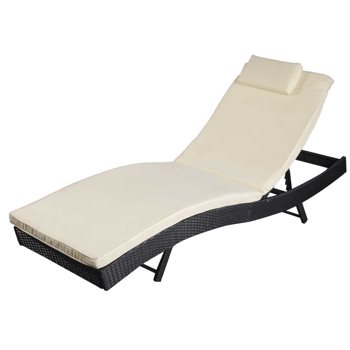 Costway Adjustable Pool Chaise Lounge Chair Outdoor Patio Within Famous Adjustable Pool Chaise Lounge Chair Recliners (View 3 of 15)