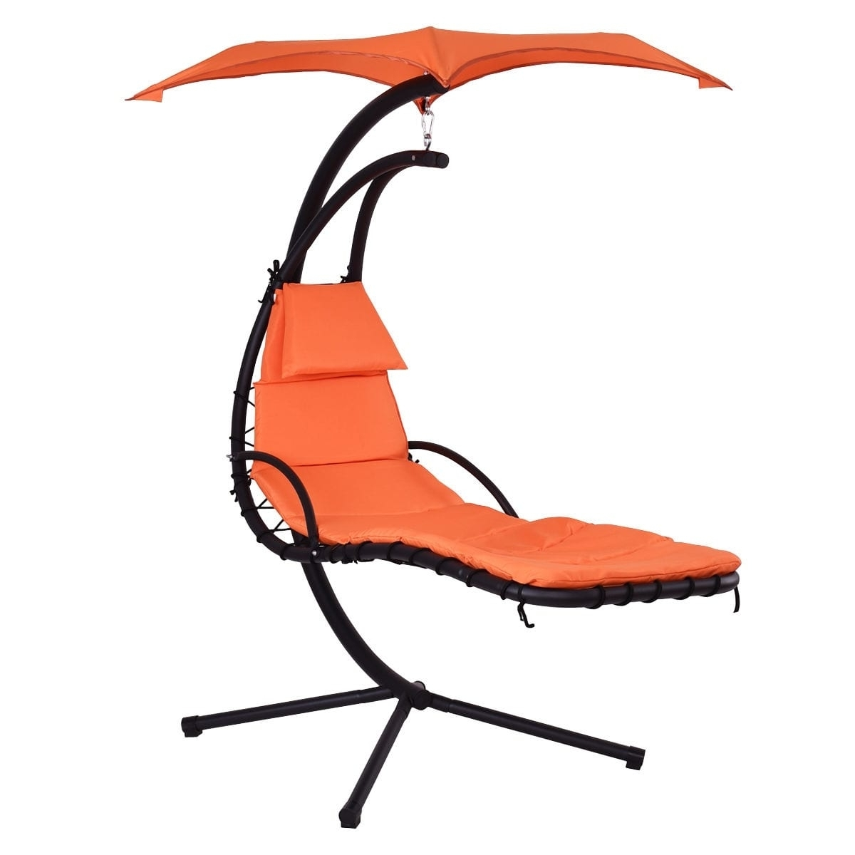 Costway Hanging Chaise Lounge Chair Arc Stand Air Porch Swing For Widely Used Hanging Chaise Lounge Chairs (View 4 of 15)