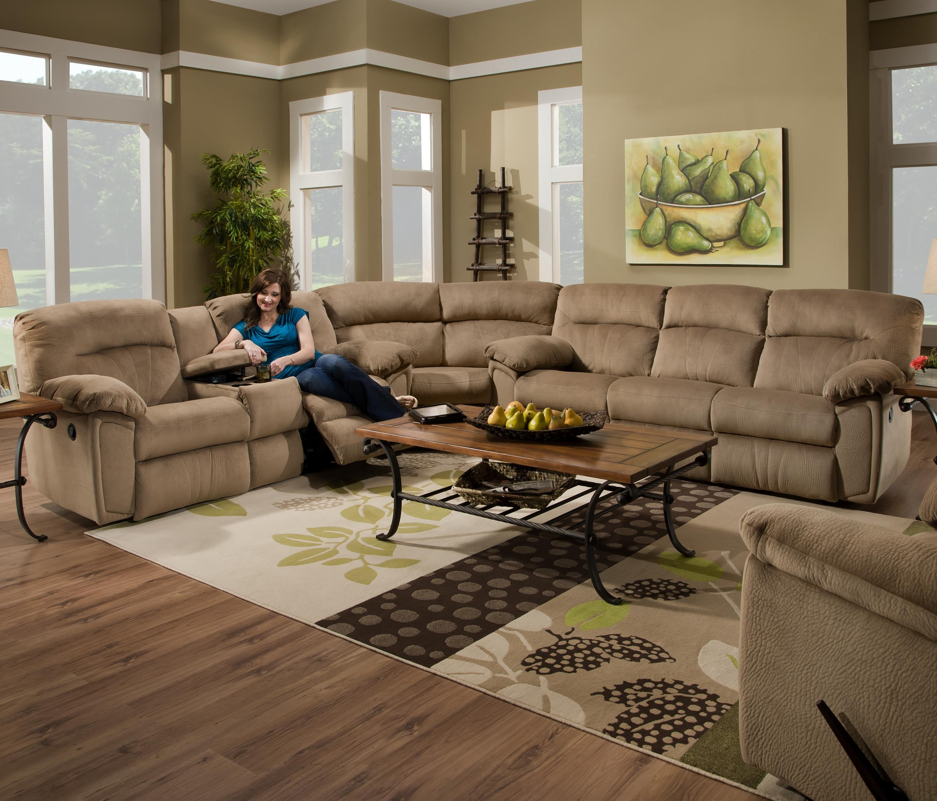 Couch With Cup Holders In Arms Reclining Sectional Sofas For Small Pertaining To Most Popular Reclining Sectional Sofas (View 3 of 15)