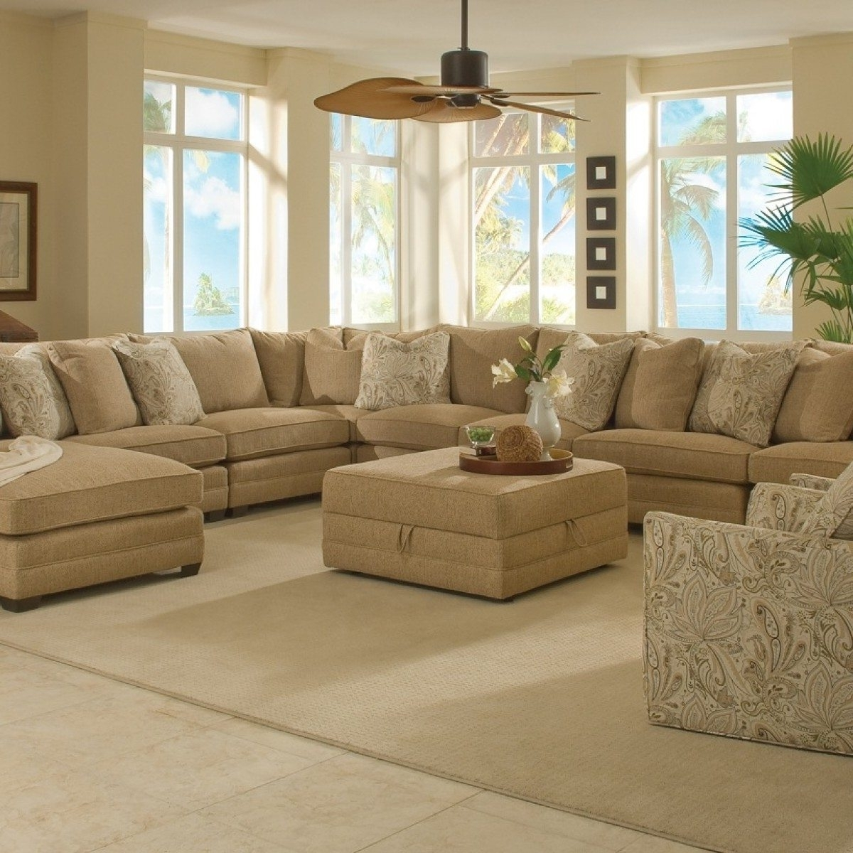 Couches With Large Ottoman In Widely Used Sectional Sofa Design: Large Sofa Sectionals Chaise Bed Extra (View 4 of 15)
