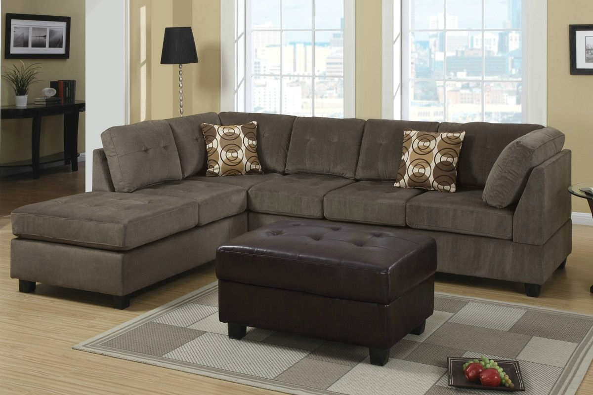 Cozy Microfiber Sectional Couch — Fabrizio Design : Perfect Ideas Within Favorite Leather And Suede Sectional Sofas (View 6 of 15)