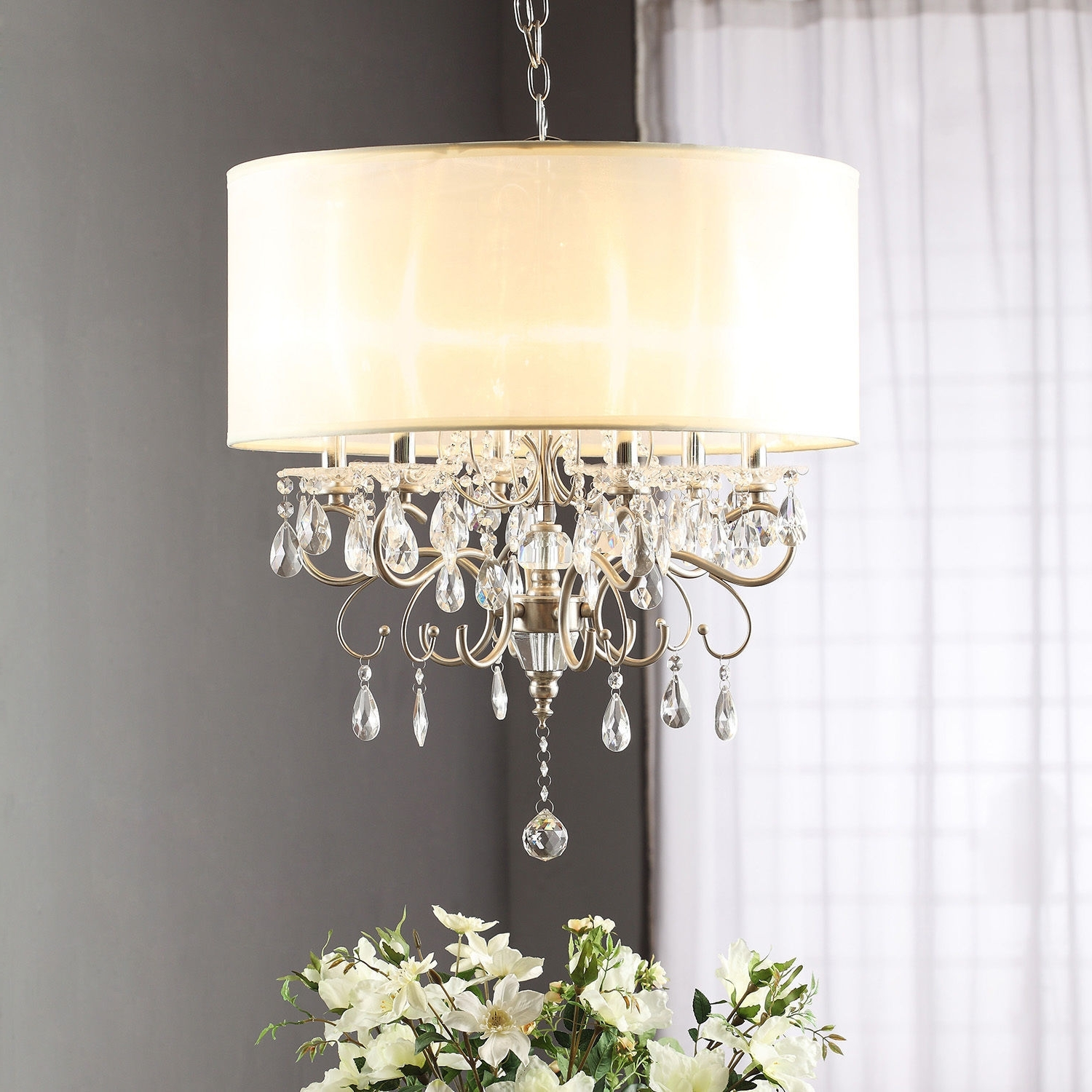 Cream Chandelier Lights Regarding Most Popular Drum Shade Chandelier With Crystals Brizzo Lighting Brass (View 2 of 15)