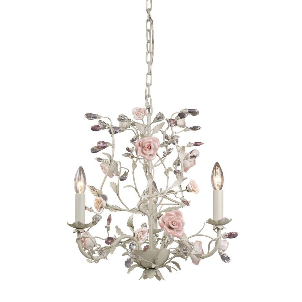 Cream Crystal Chandelier In Favorite Titan Lighting Heritage 3 Light Cream Ceiling Mount Chandelier Tn (View 4 of 15)