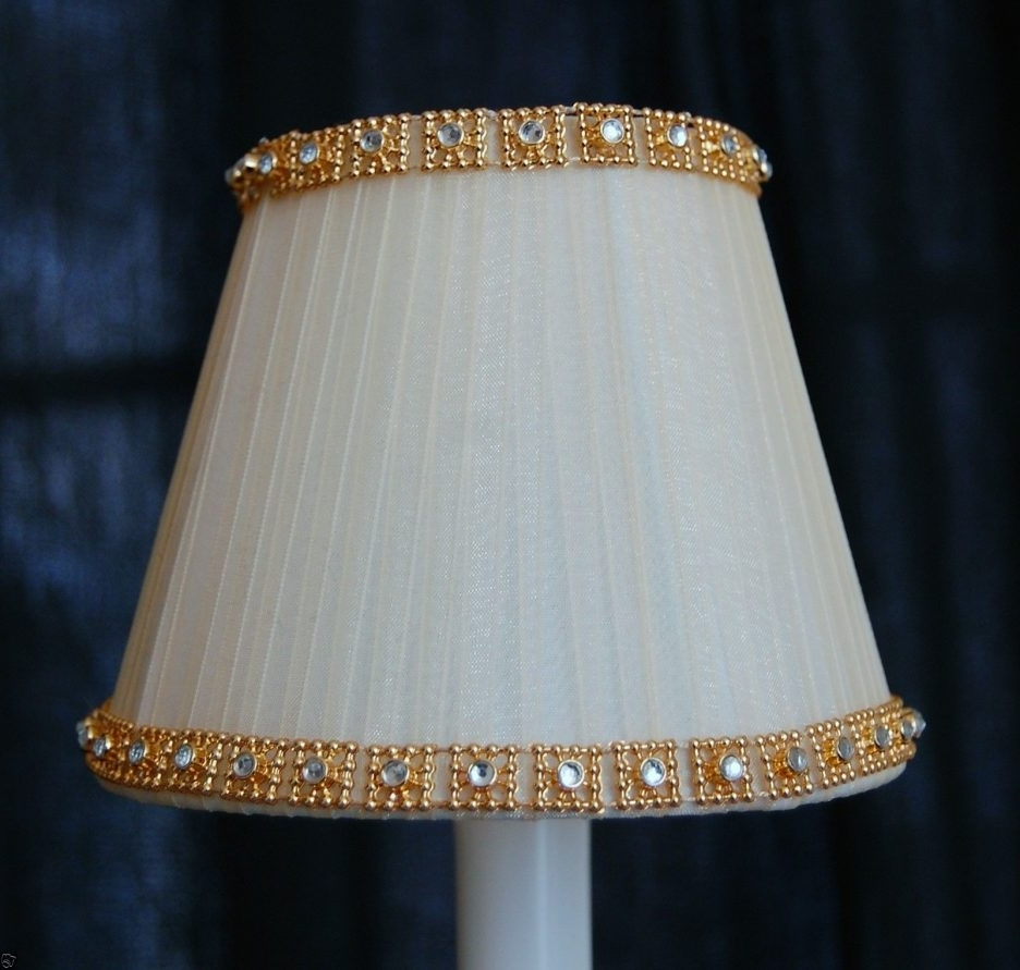 Cream Fancy Gold Crystal Trim Chandelier Clip On Mini Shades Mini Intended For Popular Clip On Chandelier Lamp Shades (View 6 of 15)