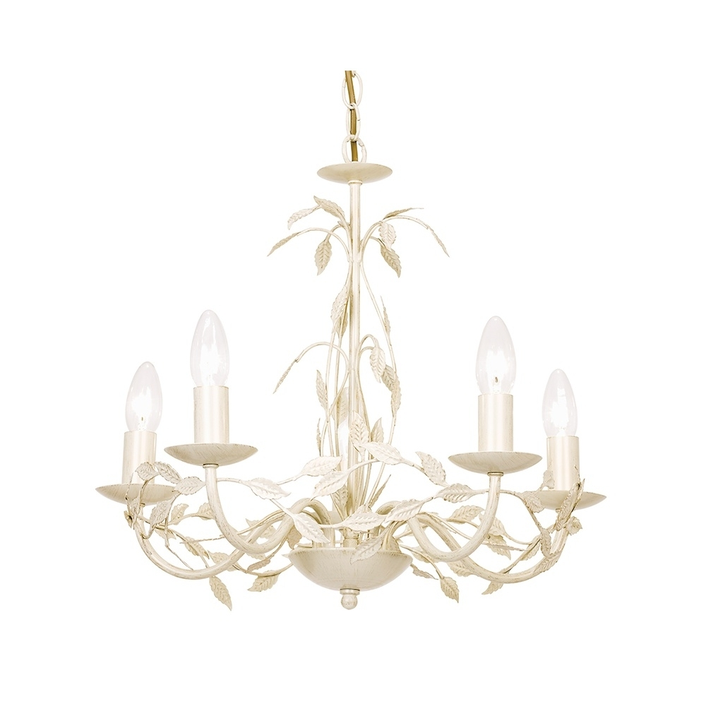 Cream Gold Chandelier Throughout Trendy Serenade 5Cr Elegant 5 Light Chandelier In Cream Gold – Lighting (View 3 of 15)