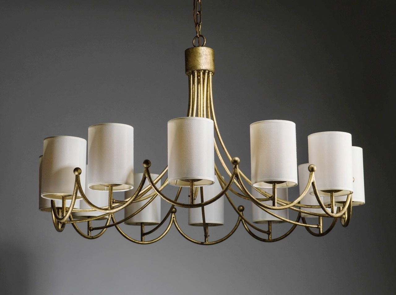 Cream Gold Chandelier With Most Recent Royere Inspired Wrought Iron 12 Light Chandelier In Distressed Gold (View 9 of 15)