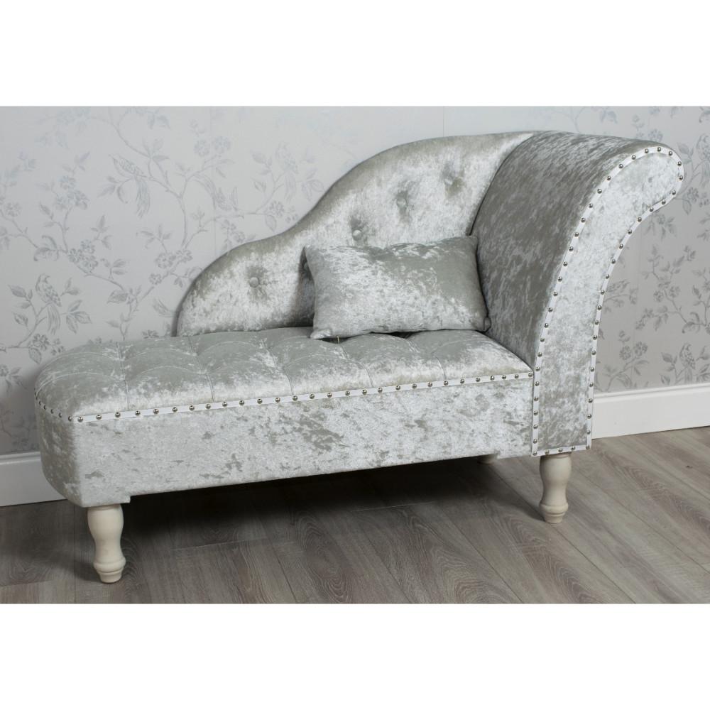 Crushed Velvet Chaise Lounge Grey – Allens Regarding Most Recent Velvet Chaises (View 3 of 15)
